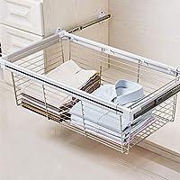 FKhanger Pull Out Storage Wire Basket,Wardrobe Storage Organiser,Telescopic Coat Drawer for Kitchen (Size : 76.445.627.2cm)