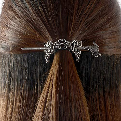 (Large Celtic Knots Dragon Hairpins -Norse Viking Crown Hair Jewelry for Long Hair Braids Barrettes Vintage Viking Runes Women Girl Hairpin Hair Clips Stick Irish Slide Accessories)