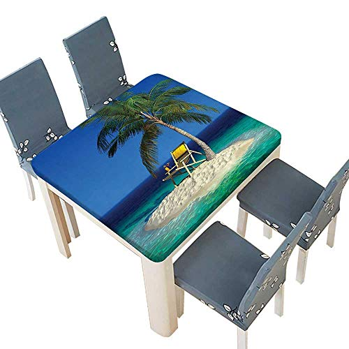 PINAFORE Spring & Summer Outdoor Tablecloth, Chair Under A Palm Tree On A Small Uninhabited Tropical Island Clear Ocean Multicolor 37.5 x 37.5 INCH (Elastic Edge)