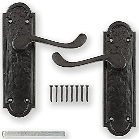 Latch or Lock Black Cast Iron Fleur De Lys Door Antique Handles Lever Bathroom