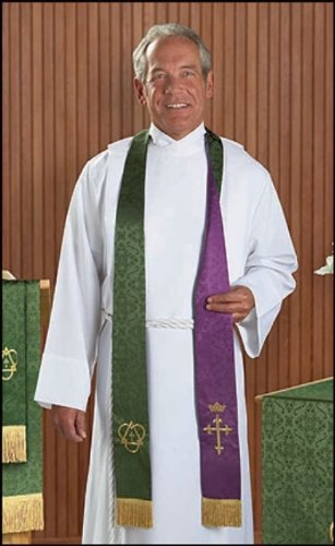 Purple and Green Embroidered Holy Trinity Cross with Crown Reversible Clergy Jacquard ()