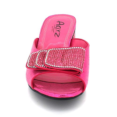 Size Crystal LONDON Evening Heel Bridal Diamante Fucshia Block Ladies Sandal Women Slip Party Prom Shoes On AARZ Wedding qgnxaHfqt