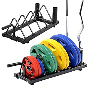 Topeakmart Barbell Weight Plate Bumper Stand,Powder-Coated Steel Frame