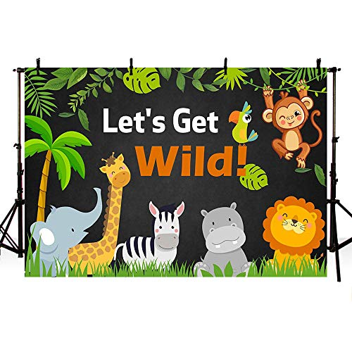 MEHOFOTO Let's Get Wild Party Backdrop Jungle Safari Animals Chalkboard Boy Wild One Birthday Photography Background Green Leaves Zoo Forest Summer Photo Booth Banner for Dessert Table Supplies 7x5ft -