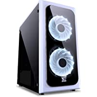 Gabinete Mid-Tower Venus com 2 Fans LED 7 Cores Lateral em Acrílico, PC Yes, Acessórios para Computador, Preto/Branco