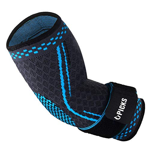 Sports Elbow Brace Compression Sleeve Arm Support Elastic Sleeve with Strap for Golfer,Basketball,Tennis,Workout,Weightlifting, Tendonitis, Arthritis, Bursitis, Pain Relief, Recovery/Size M/Single