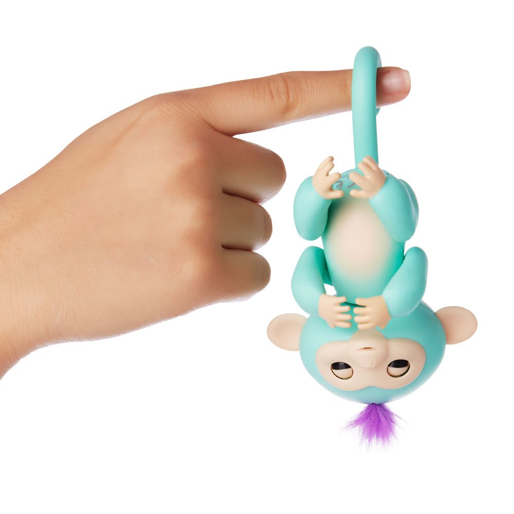 Fingerlings - Interactive Baby Monkey - Zoe (Turquoise with Purple Hair) By WowWee by WowWee (Image #4)
