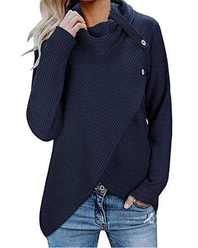 Dellytop Womens Cowl Neck Asymmetric Hem Wrap Sweaters Waffle Pullover Jumper with Buttons