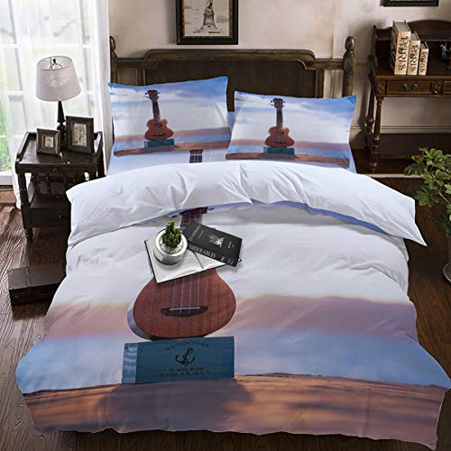2 Piece Lincoln Navigator - Duvet Cover Sets,Lightweight Soft and Breathable 4-Piece Bedding Comforter Covers with Zipper Closure, Corner Ties for Men, Women, Boys and Girls - Navigator Anchor and Guitar by The sea Queen Size