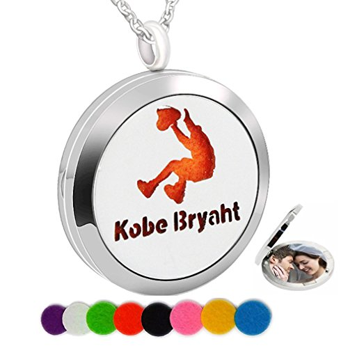 Essential Oil Necklace Aromatherapy Diffuser Perfume Pendant Sport Basketball Picture Charm Locket Women ()