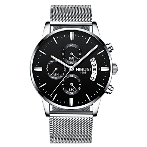 NIBOSI Men's Watches Luxury Chronograph Calendar Waterproof Military Quartz Wristwatches For Men Mesh Alloy Milanese Style Bracelet 2309-GKHMwd
