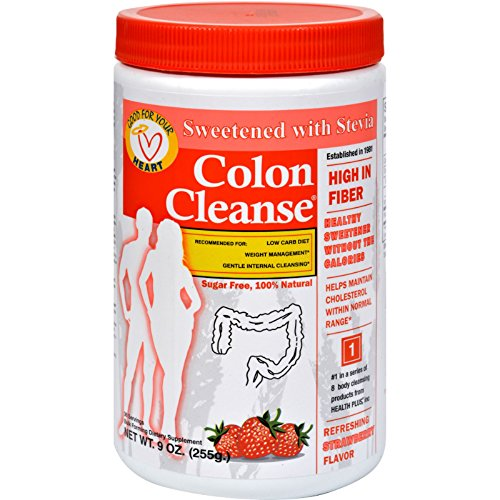 Health Plus Colon Cleanse - Strawberry Stevia - High In Fiber - For Weight Management - Natural - 9 oz (Pack of 4) by Health Plus