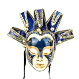 YUFENG Masquerade Jolly Jester Mask Cosplay Mardi Gras Prom Dance Birthday Party Wear or Decor (blue)
