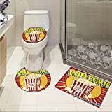 jwchijimwyc Retro 3 Piece Bathroom Rug Set Vintage Grunge Pop Corn Commercial Print Old Fashioned Cinema Movie Film Snack Artsy customized Multicolor