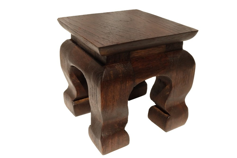 Design by UnseenThailand Mini Table Buddha Statue Stand Worship Pedestal Thai Wood Carving. (W4''xD4''xH4'')