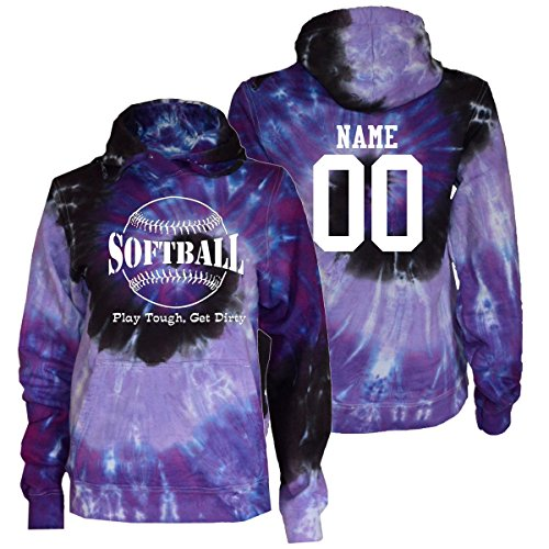 (JANT girl Custom Softball Tie Dye Sweatshirt - Play Tough Large Logo (Purple Twist, YL))