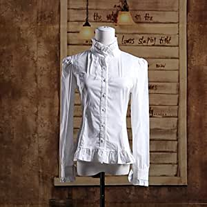 Luy Stand Collar Long Sleeve White Cotton Classic Lolita Blouse