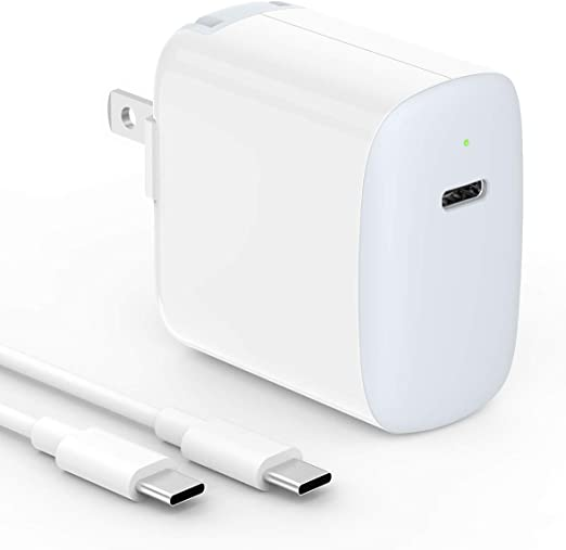 30W USB C Charger for MacBook 12 inch, MacBook Air, 2018 iPad Pro 12.9 Gen 3, iPad Pro 11, Samsung, Google Pixel, LG, Moto, Foldable, LED Indicator, ...