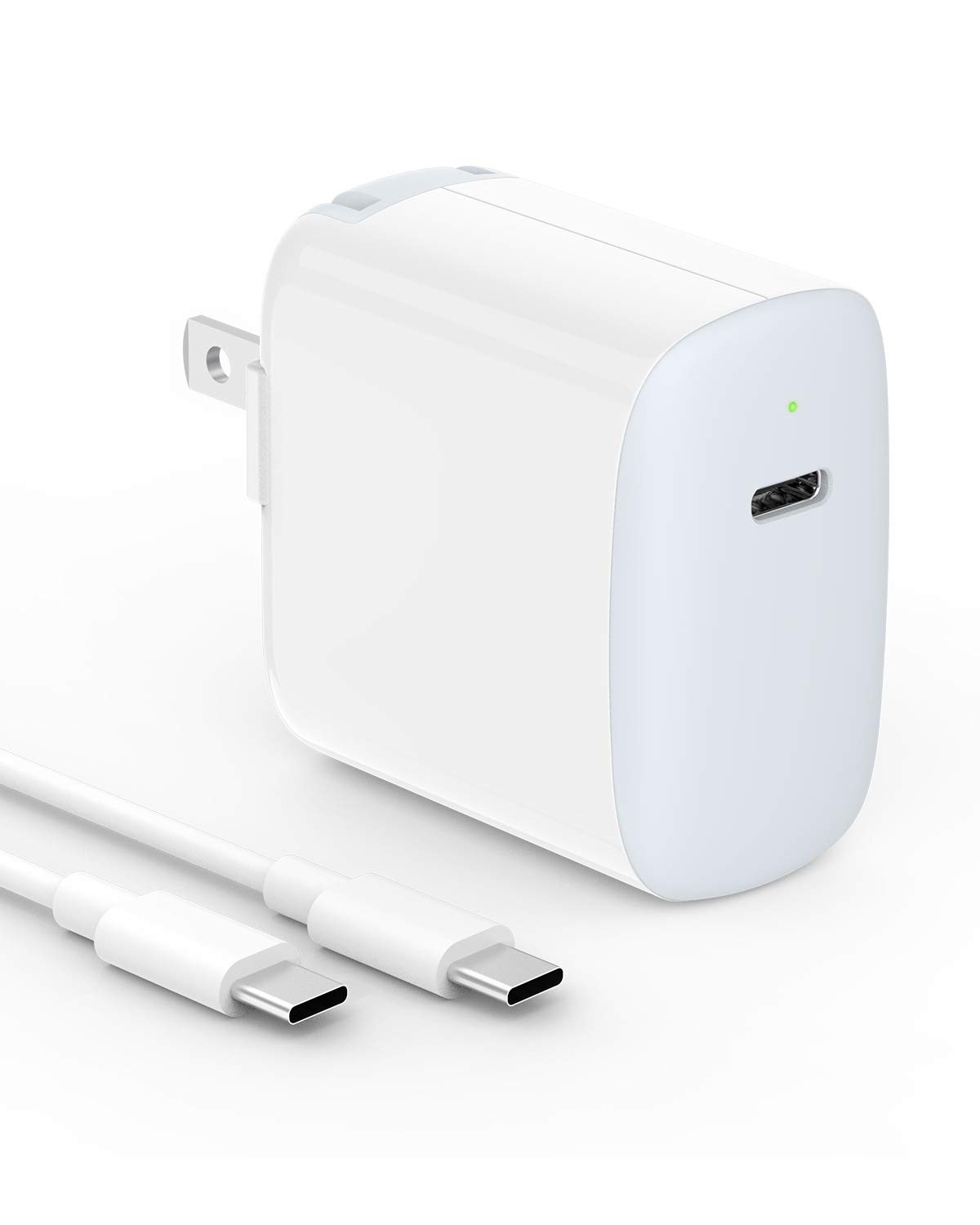 USB C Charger - 18W Fast Wall Charger for 2018 iPad Pro 12.9, 11, Google Pixel, Pixel 2, Pixel 3, Pixel XL, LG G7 G6 G5 V30, Galaxy S10, S9, S8, Moto Z, Foldable, LED Indicator, 6.6ft USB C to C Cable by SZPOWER