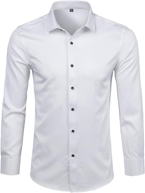 Camiseta El/ástica Casual//Formal para Hombre Manga Corta Camisa Bamb/ú Fibra Hombre Slim Fit