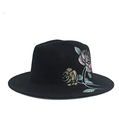 787f9d31c88 Ruiyue 100% Wool Winter Hand-Painted Flowers Fedora Hat for Women (Color :