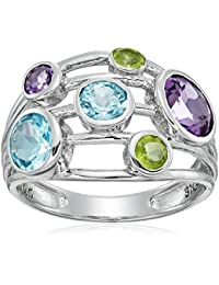 Sterling Silver Peridot, Amethyst and Blue Topaz Stack Ring, Size 7