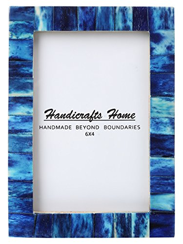 (New Real Handmade Black White Bone Photo Picture Vintage Imported Chic Frame Made to Display 4x6 5x7 Pictures (4x6, Blue))
