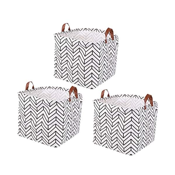 Kingrol 3 Pack Waterproof Storage Baskets with Handles, 12 x 12 x 12 Inch Storage Bins for Home, Office, Nursery, Laundry