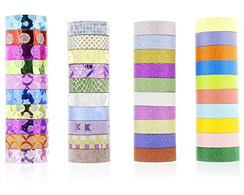 Deluxe Designs Scrapbook Paper (Washi Tape Rolls - 40-Pack Decorative Masking Tapes - Glitter Metallic Colorful Masking Paper Tapes, for Art Crafts, DIY Decoration, Gift Wrapping, Scrapbook - Assorted Colors Patterns, 9.8 Feet Long)