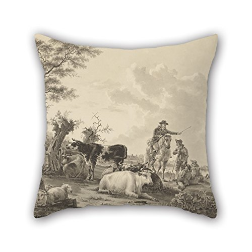 - The Oil Painting Jacob Van Strij (Dutch - Landscape With Cattle, Sheep, And Herders Throw Pillow Case Of 18 X 18 Inches / 45 By 45 Cm Decoration Gift For Adults Club Lover Kids Boys Boys Dinning R