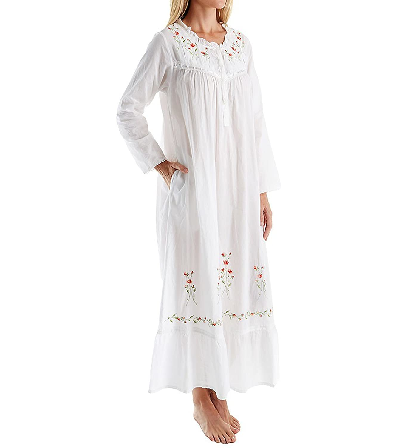 Victorian Nightgowns, Nightdress, Pajamas, Robes La Cera 100% Cotton Woven Long Sleeve Long Gown (1181A) $39.99 AT vintagedancer.com