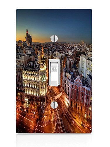 Popular Madrid at Night Print Light Switch Plate by LE Prints