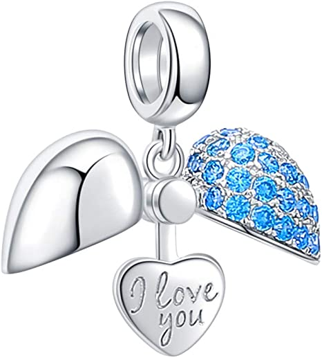 925 Sterling Silver I Love You Heart with Pink Crystals Charm Bead