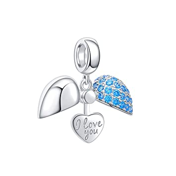 1d4c3df9cb11f I Love You Charm 925 Sterling Silver Love Heart Dangle Bead Charms for  European Charms Bracelet Necklace (Blue)