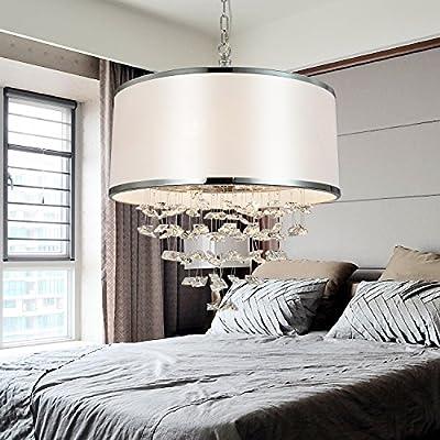 OOFAY LIGHT Simple and elegant 4-head crystal cloth chandelier, Modern crystal cloth chandelier for living room, Fashionable cloth bedroom chandelier