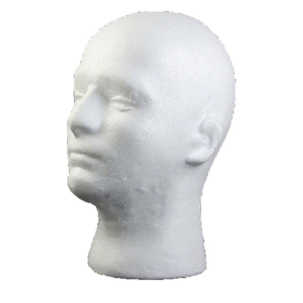Manichino maschile Styrofoam Foam Manikin Head Model parrucca occhiali cappello espositore ciglia trucco massaggio pratica Brussels08