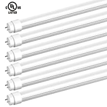 SGL 6-Pack T8 LED Shop Light Tube, 4ft, 22W(48W Equivalent) 2310 Lumens, 5000K Daylight, Single-Ended Power Frosted Cover, G13 Lighting Fixtures, UL-Listed & DLC-Qualified