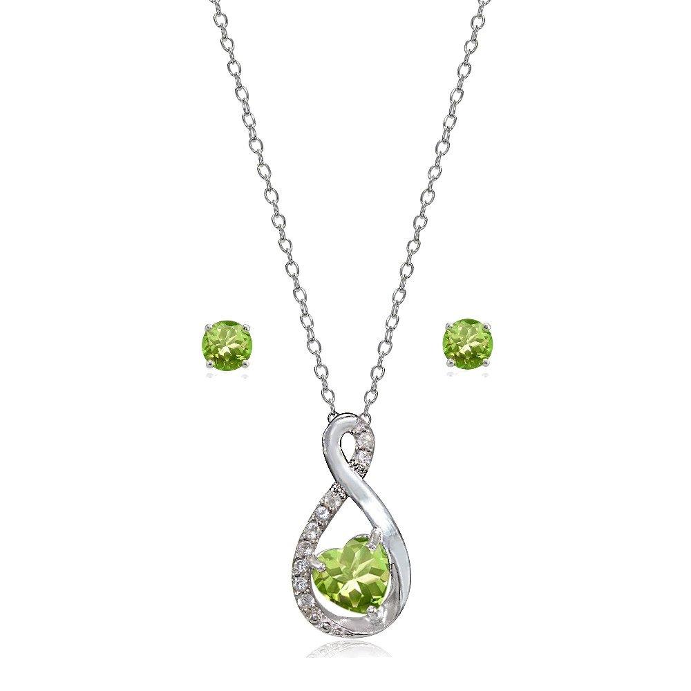 LOVVE Sterling Silver Peridot & White Topaz Infinity Heart Necklace Earrings Set