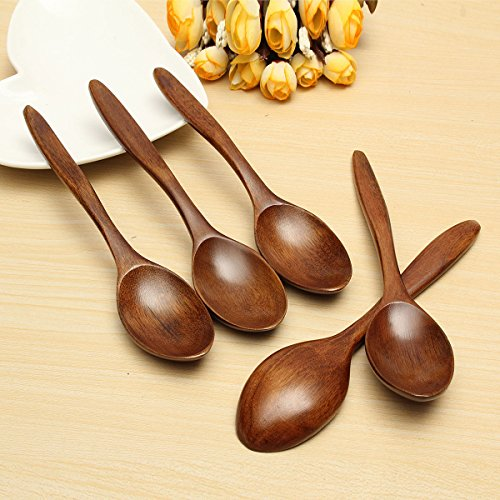 5Pcs Wooden Cooking Kitchen Utensil Coffee Tea Ice Cream Soup Caterin Spoon - Calgary Store Online
