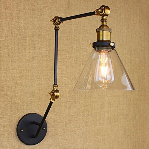 Industrial Retro Luxury Bronze Lampholder Glass Lampshade Long Arm Cone Shape Wall Lamp Bedside Bedroom Hotel Cafe Bar Resturant Mall Iron Wall Light Indoor Home Decor Vintage Multi Arm Sconce ,A