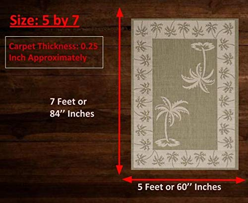 Amazon.com: HR-Interior/Exterior Area Rugs Cabina/Palm Tree ...