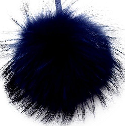 Valpeak 6'' Fluffy Raccoon Fur Ball Pom Pom Keychain Womens Bag Purse Charms with Golden Key Chain (Royal Blue)