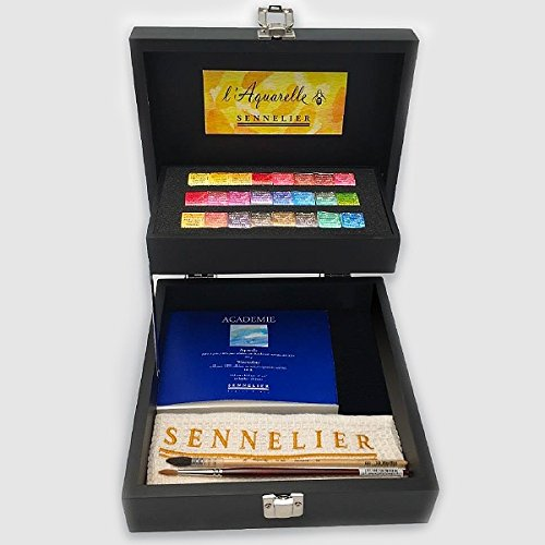 Sennelier French Artist Watercolor Set Featured in an Elegant Black Wooden Box, 24 Aquarelle Watercolor Half Pans with 2 Brushes, 1 Small Watercolor Pad and Sennelier Cloth by Sennelier