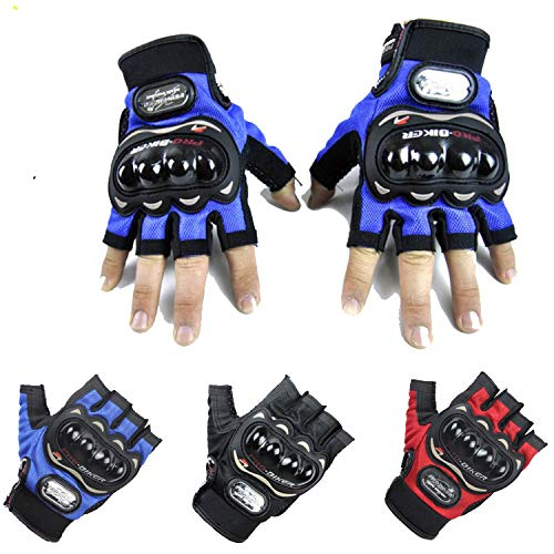 Price comparison product image Pro biker motorcycle Gloves Off-Road luva motociclista Motorcycle Riding Half Finger Gloves, Blue, XXL