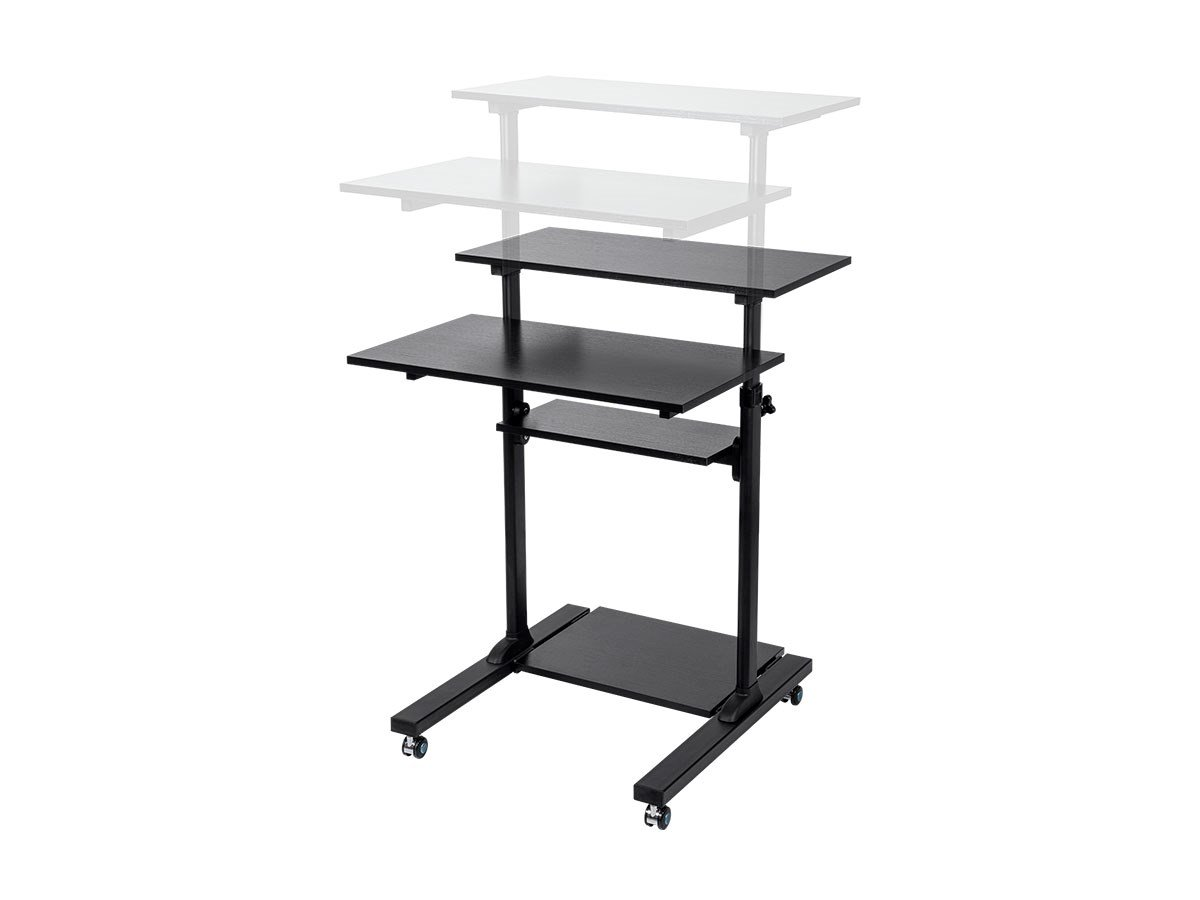 Monoprice Height Adjustable PC Cart Gas Spring Sit Stand Riser Desk Converter - Black, 28 Inch Table Top Workstation | Easy To Use, Compatible With Most Desks