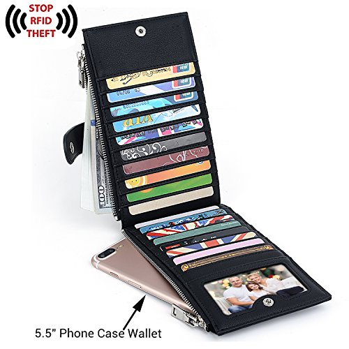UTO RFID Wallet Women PU Leather Blocking Tech 19 Card Case Money Organizer Phone Zipper Pocket Black by UTO (Image #1)