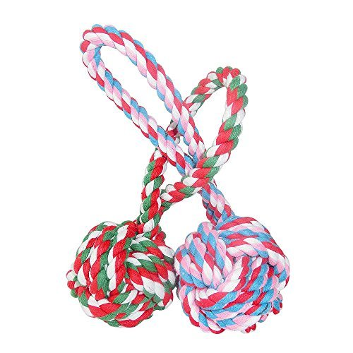 Unitter Dogs & Cats Chewing Toy, Pet Puppy Knotted Rope Toy Balls, Pet Biting Training Balls with a Tug, Large-sized Cotton Rope Ball, 2 Packs (Color of Toy balls Will Be Sent at Random)