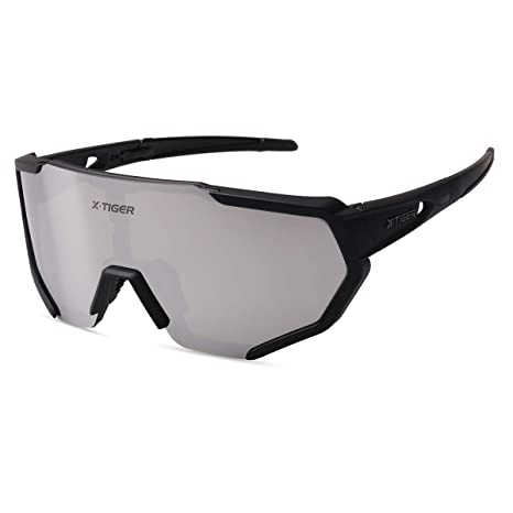 214cc5144a X-TIGER Occhiali Ciclismo Polarizzati con 3 Lenti Intercambiabili Occhiali  Bici Antivento e Antiappannamento Occhiali Sportivi da Sole Anti UV da Uomo  ...