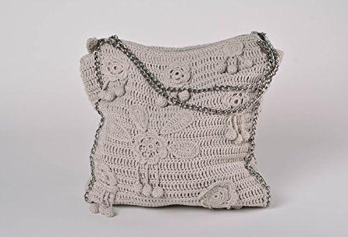 Bolso tejido de hilos de algodon artesanal de color gris con ...