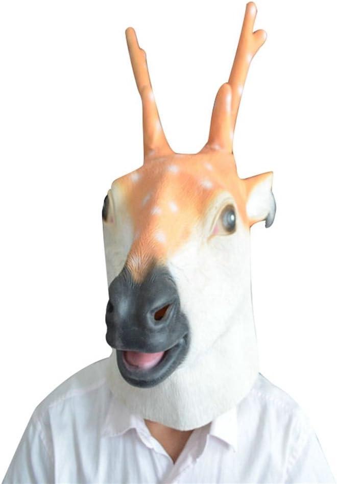 Jitong Halloween Ciervo Látex Cabeza Máscara para Navidad Fiesta ...